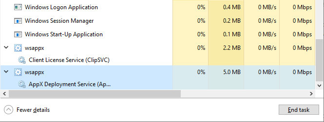 wsappx.exe process in Task Manager