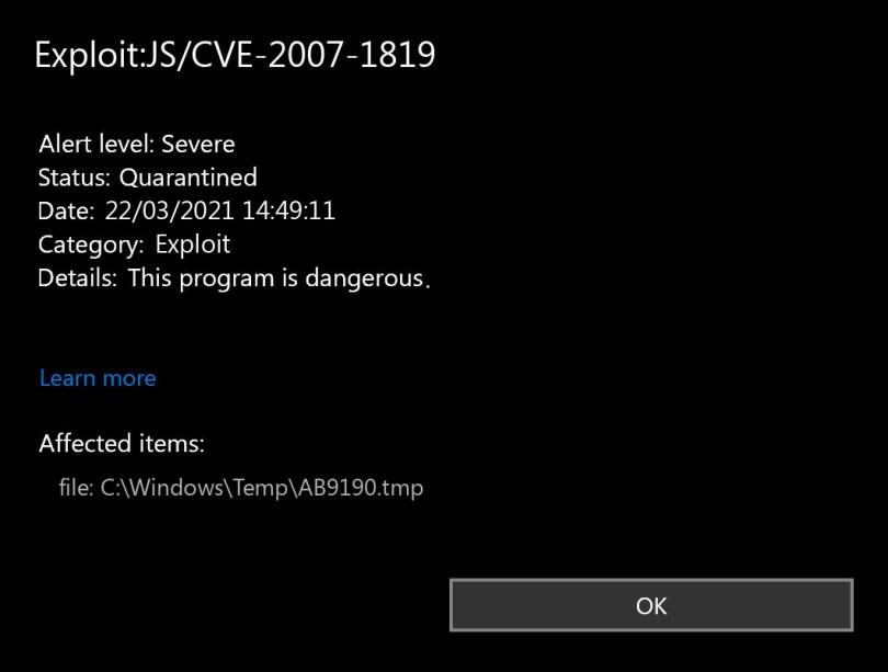 Exploit:JS/CVE-2007-1819 found