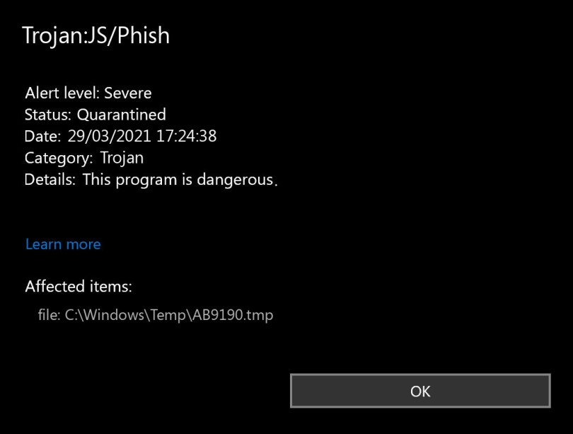 Trojan:JS/Phish found