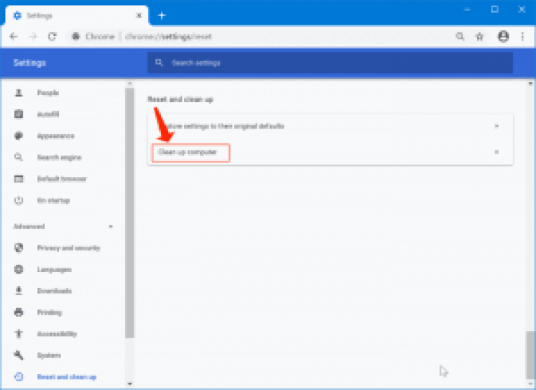 awスナップの問題-Chromeのクリーンアップとリセット