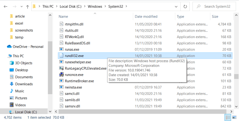 Rundll32 exe file location
