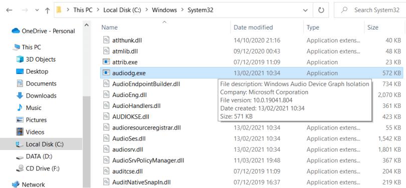 Windows Audio Device Graph Isolation file location