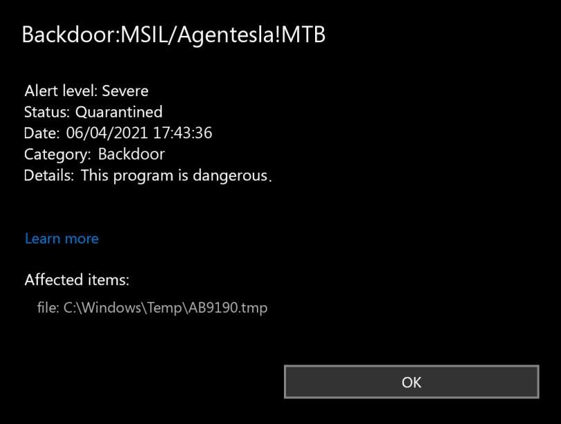 Backdoor:MSIL/Agentesla!MTB found