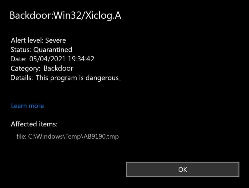 Backdoor:Win32/Xiclog.A found