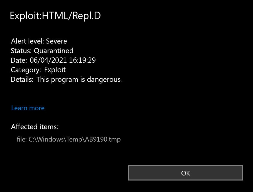 Exploit:HTML/Repl.D found