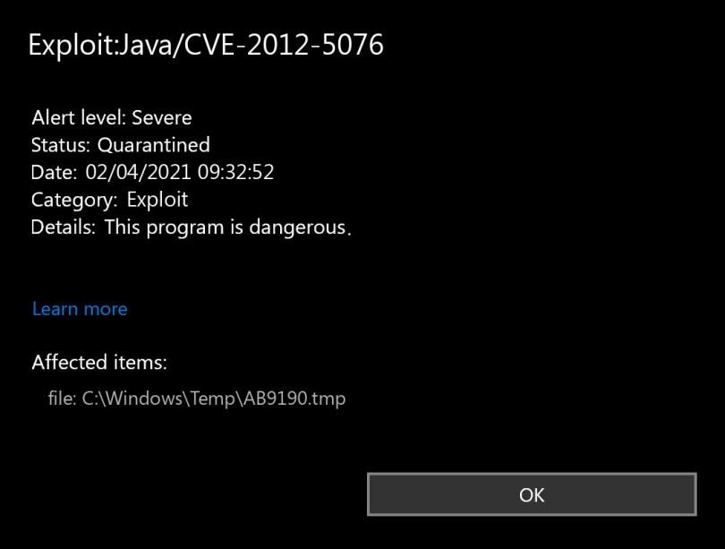 Exploit:Java/CVE-2012-5076 found