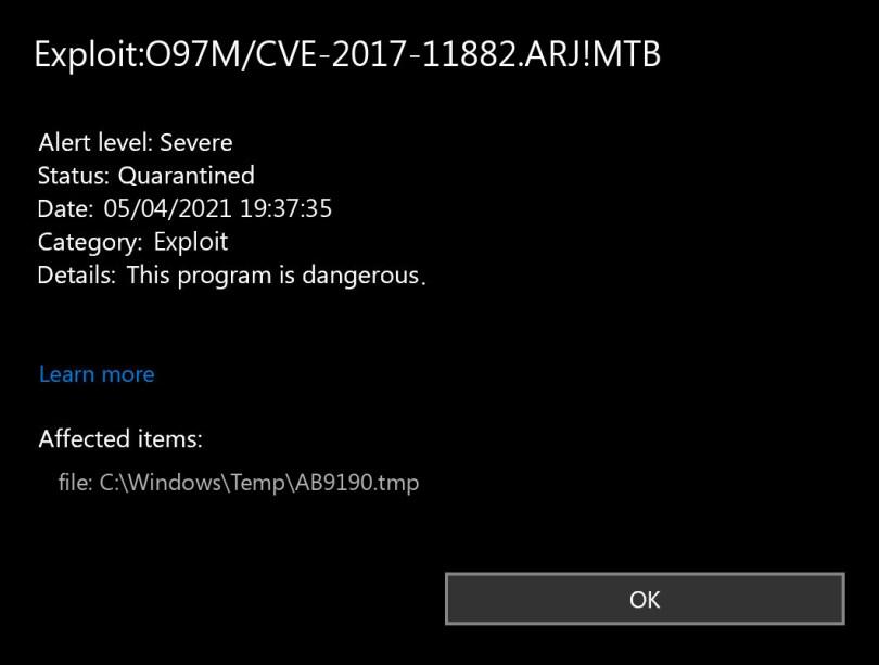 Exploit:O97M/CVE-2017-11882.ARJ!MTB found