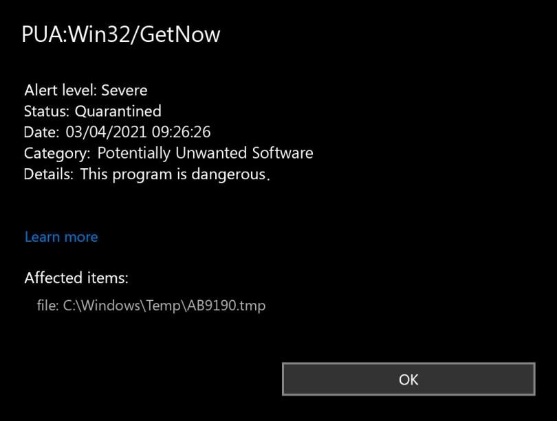 PUA:Win32/GetNow found