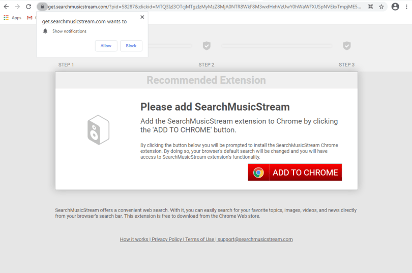 SearchMusicStream hijacker - Searchmusicstream.com