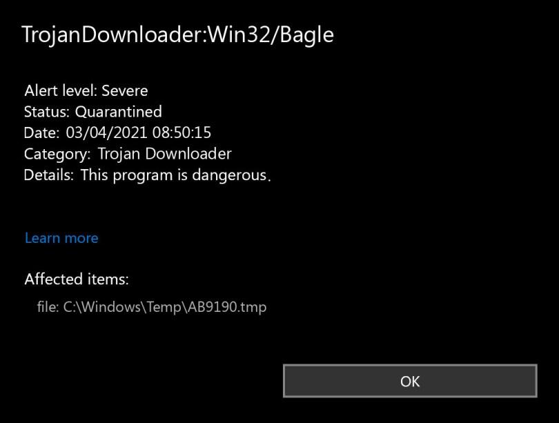 TrojanDownloader:Win32/Bagle found
