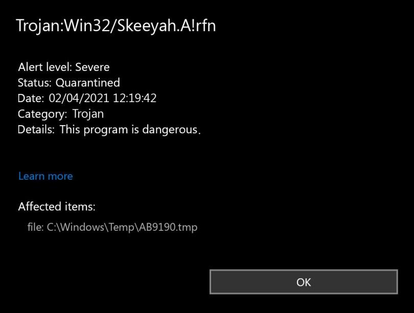Trojan:Win32/Skeeyah.A!rfn found