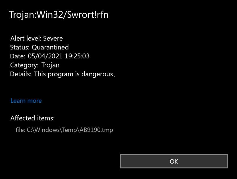 Trojan:Win32/Swrort!rfn found