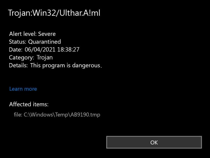 Trojan:Win32/Ulthar.A!ml found