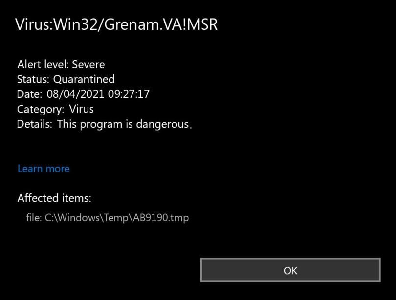 Virus:Win32/Grenam.VA!MSR found