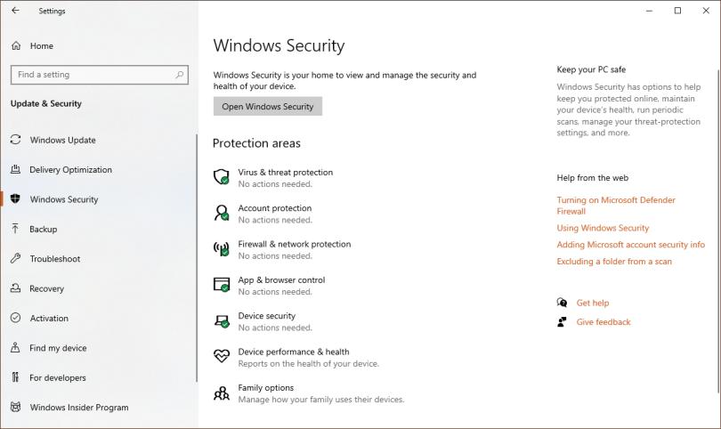 Windows Security Windows 10