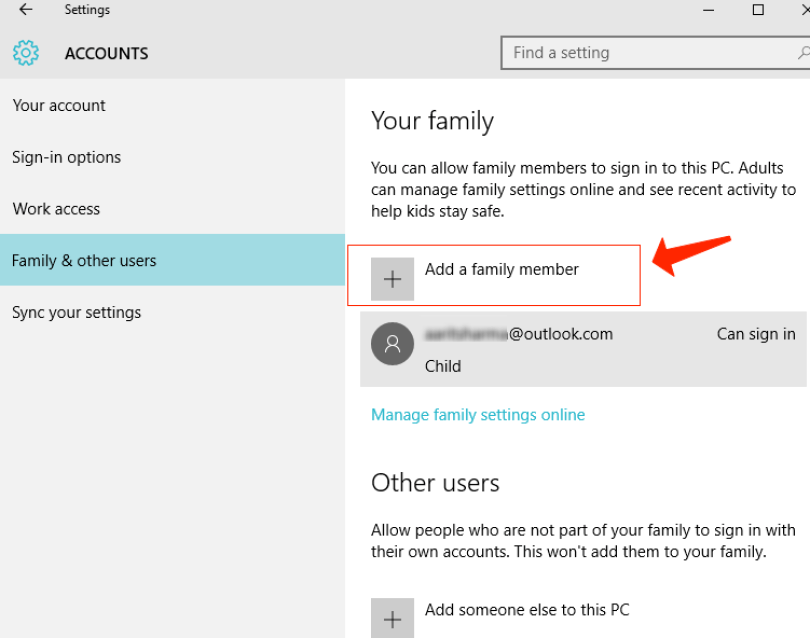 windows 10 - Settings Add a family member