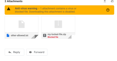 virus warning download attachments
