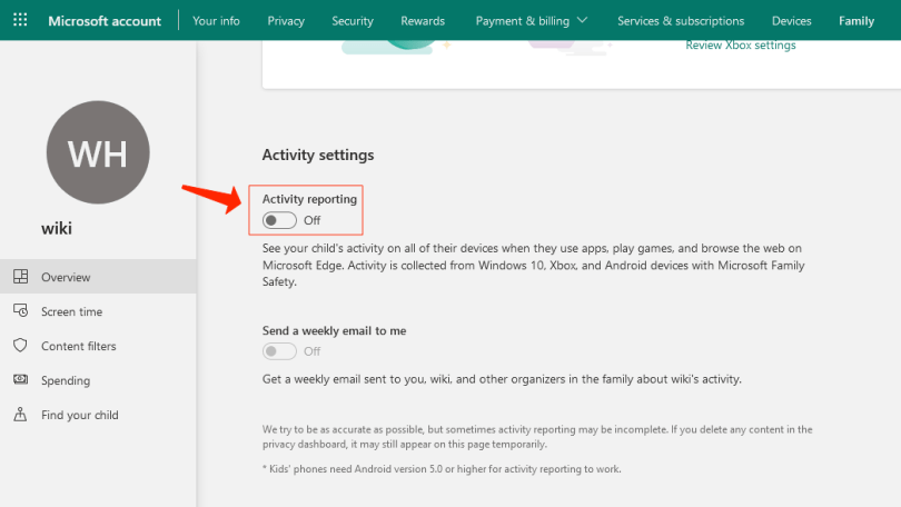 parental controls - enable activity reporting