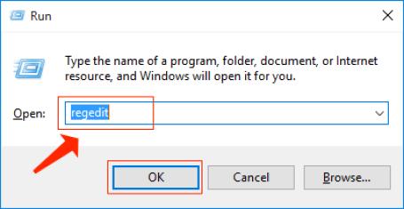 windows run regedit