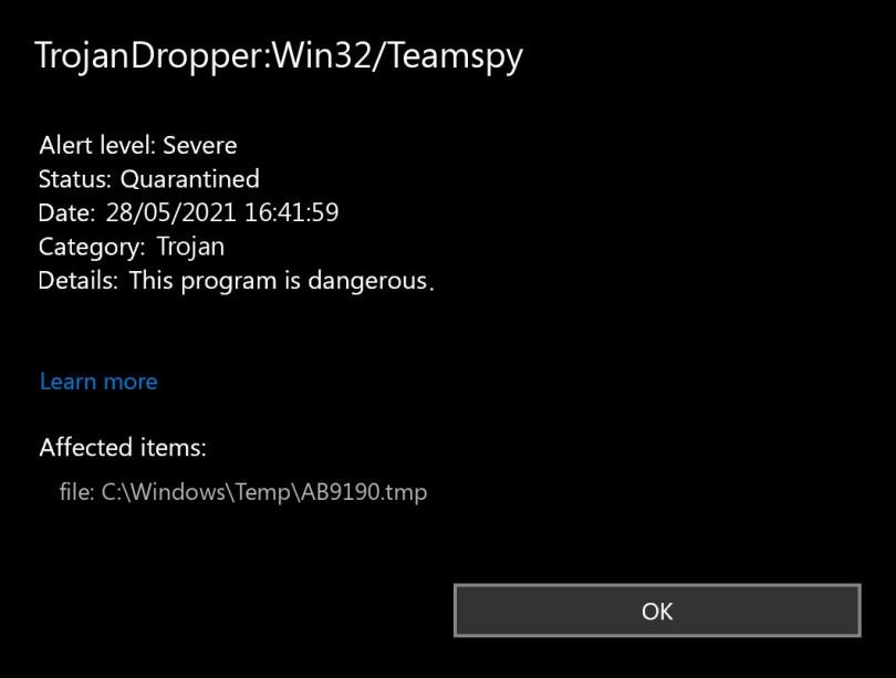 TrojanDropper:Win32/Teamspy found