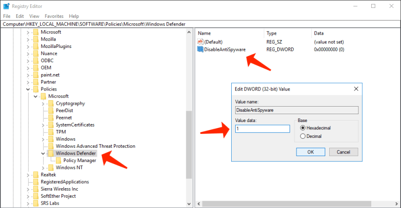 antimalware service executable - disable windows defender