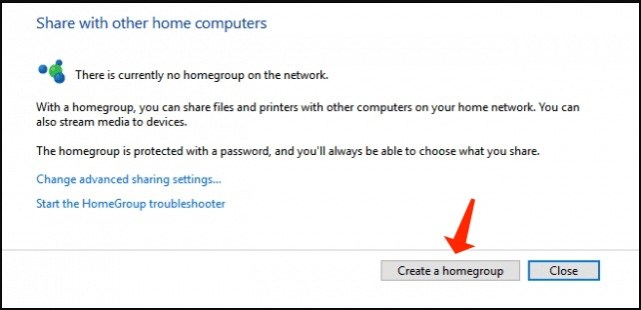 file sharing - create a homegroup