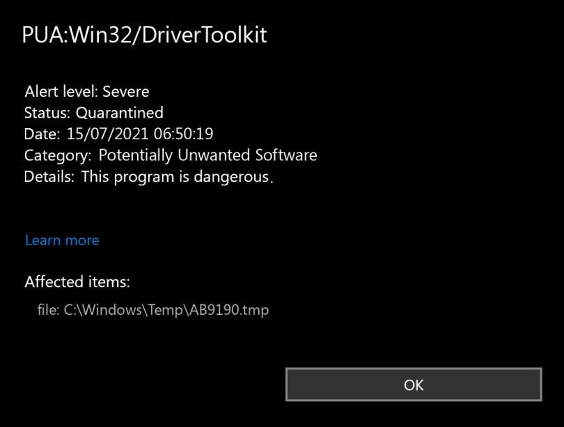 PUA:Win32/DriverToolkit found