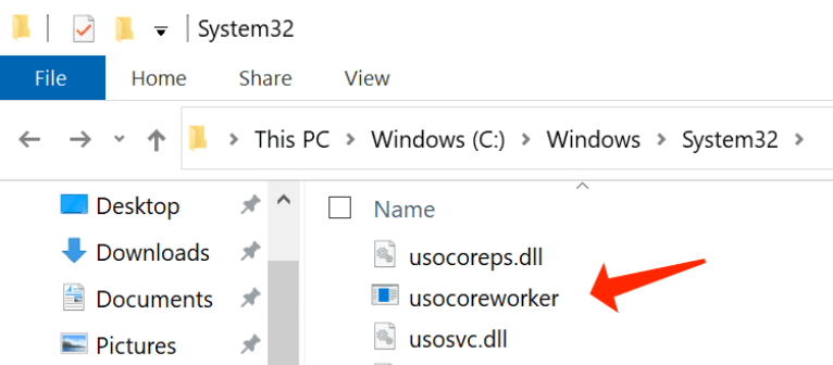 USOCoreWorker.exe - process located