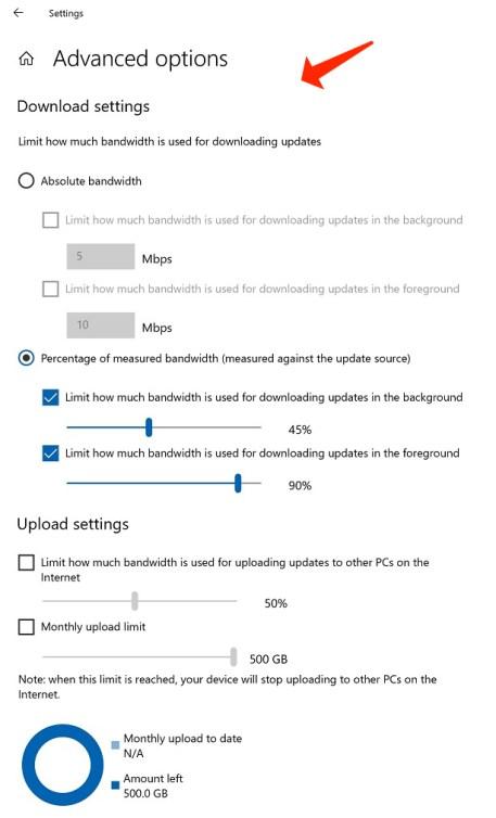 advanced options download settings
