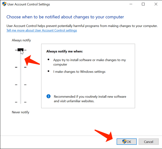 resolve issues in windows 10 - calming the UAC down
