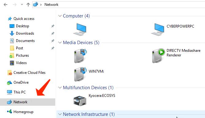 file explorer - network computers