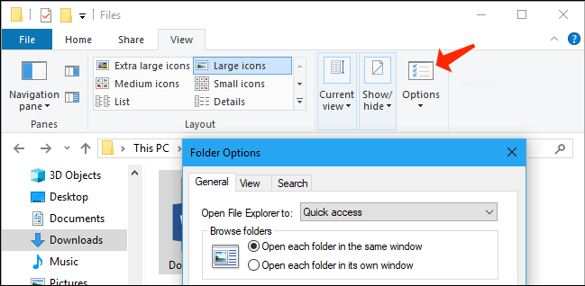 file explorer - view tab options