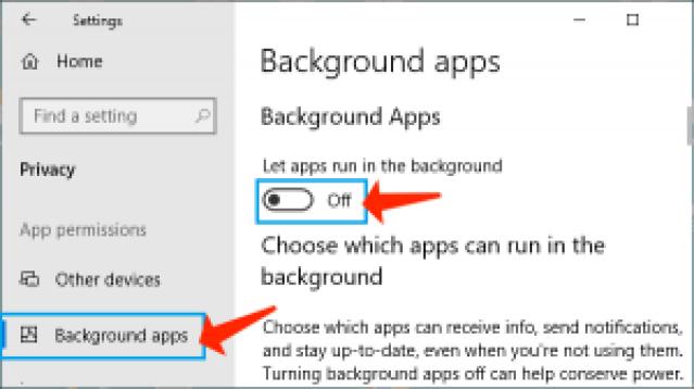 アップロードとダウンロードの速度-バックグラウンドアプリをオフにします