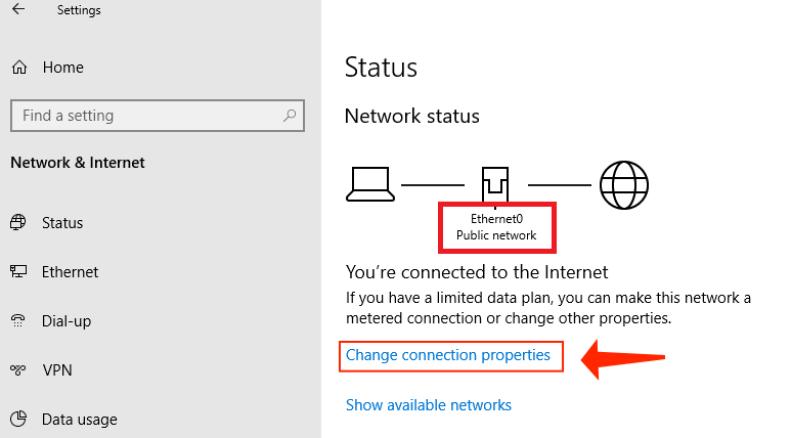 windows 10 - change connection properties
