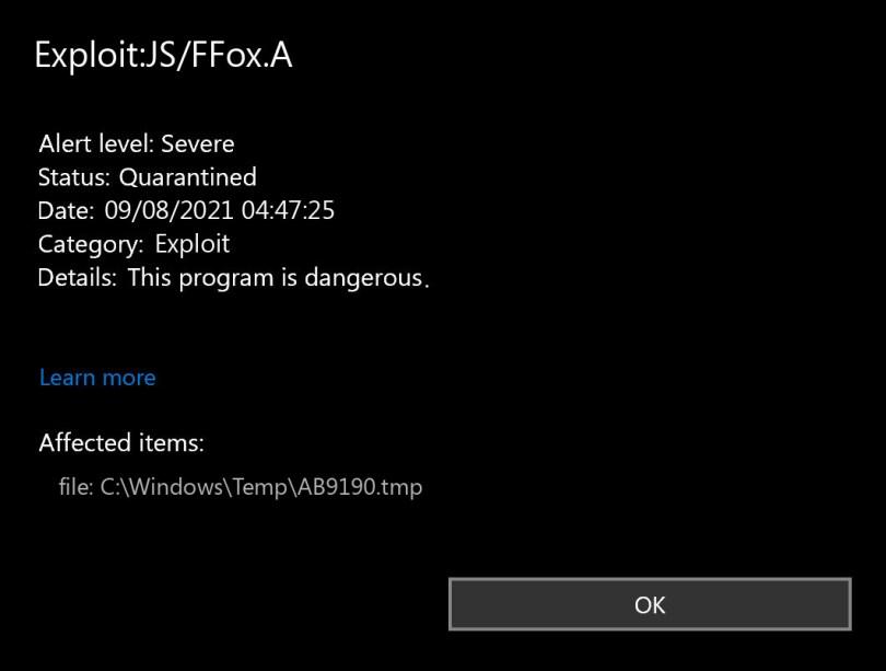 Exploit:JS/FFox.A found
