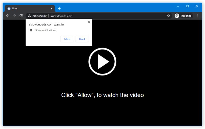 Skipvideoads.com push notification
