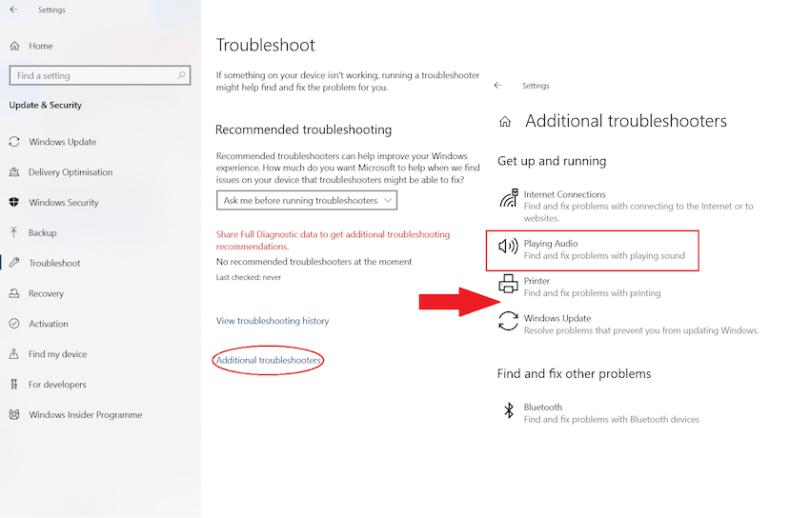 fix microphone - reinstall the windows audio service