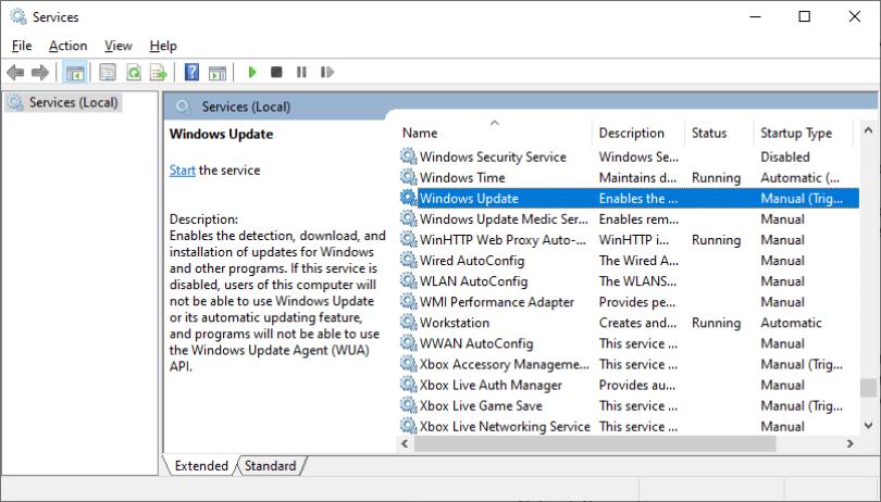 0x8007422 error - windows update services