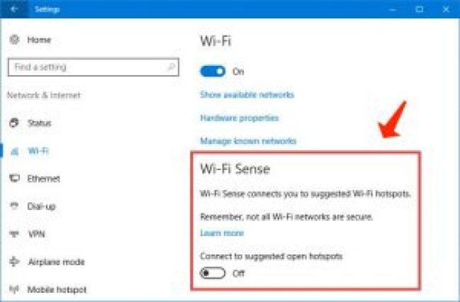 Windows 10 Administra la configuración de Wi-Fi