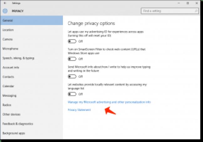 problemas de Windows 10: cambiar las opciones de privacidad