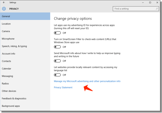 windows 10 issues - change privacy options