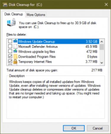 problemas de Windows 10 - limpieza del disco