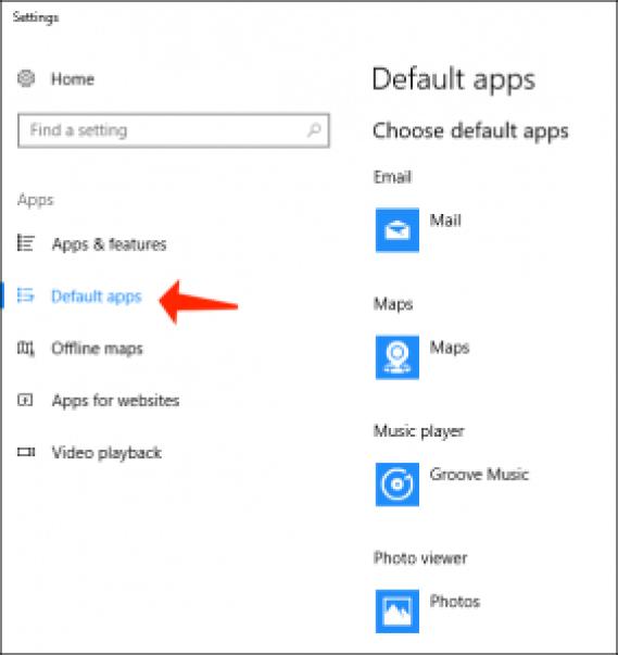 problemas de Windows 10 - establecer aplicaciones predeterminadas
