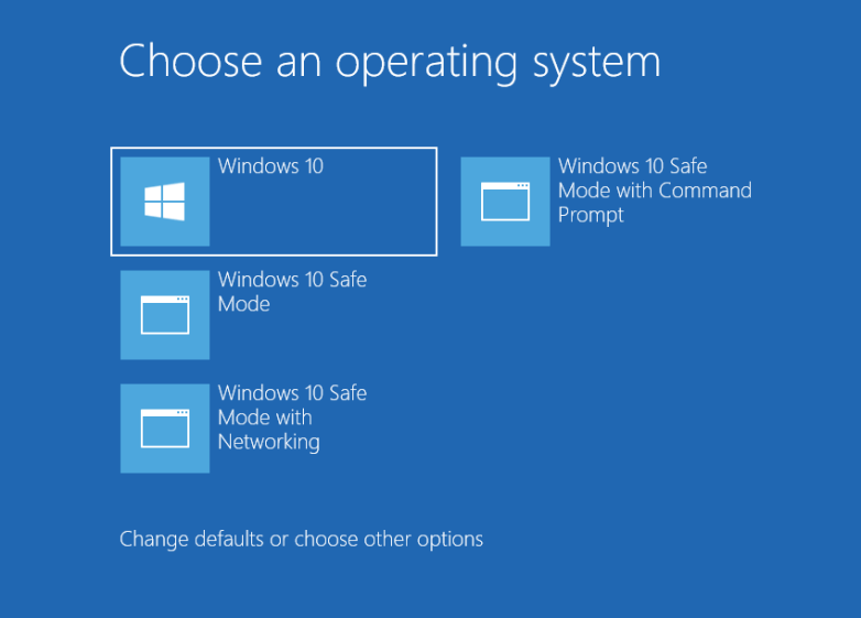 windows safe mode boot option with command prompt