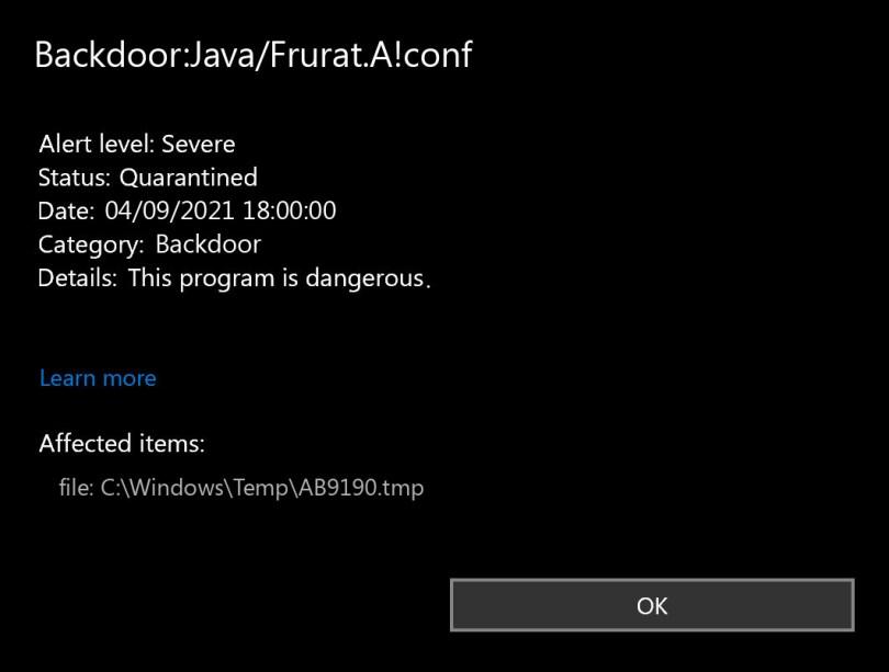 Backdoor:Java/Frurat.A!conf found
