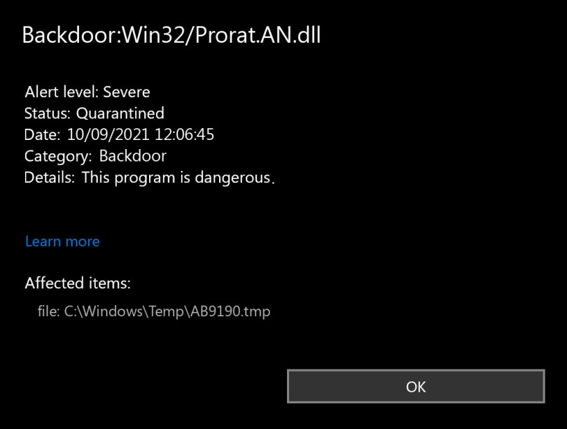 Backdoor:Win32/Prorat.AN.dll found