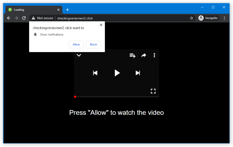 Checkingversionwn2.click push notification
