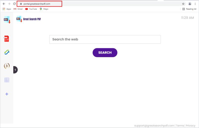 GreatSearchPdf hijacker - Greatsearchpdf.com