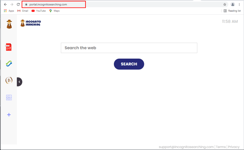 IncognitoSearching hijacker - Incognitosearching.com