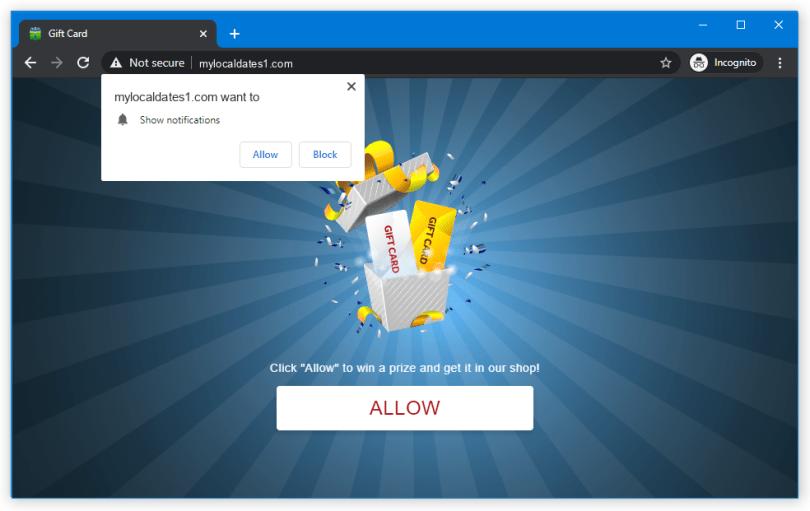 Mylocaldates1 push notification